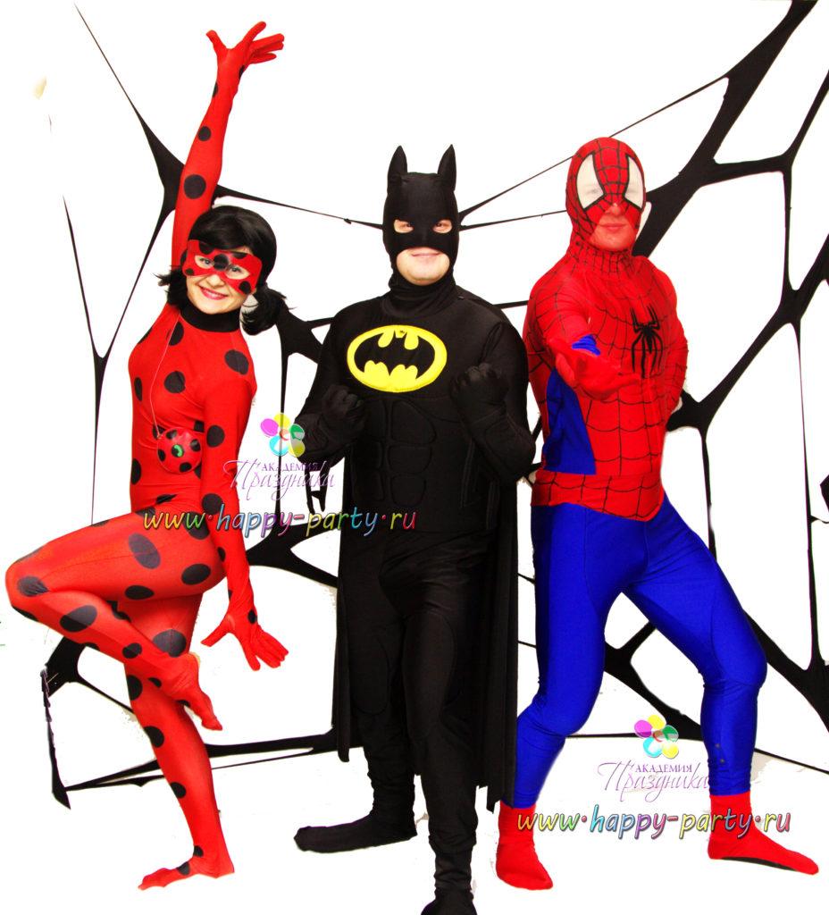 Супер-герои на детский праздник аниматор леди баг человек паук бетмен